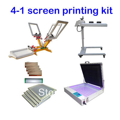 Micro Registration 4 Color 1 Station Screen Printing Kit Flash Dryer Uv Exposur