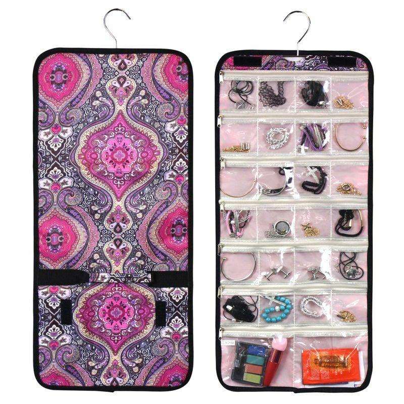 Travel Practical Jewelry Hanging Organizer Roll Bag Storage - Purple Paisley