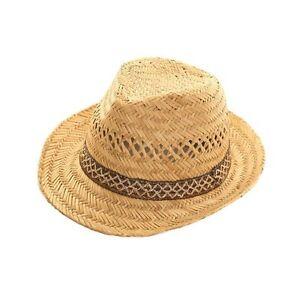 Mens-Ladies-Straw-Trilby-Fedora-Hat-Summer-Sun-Hat