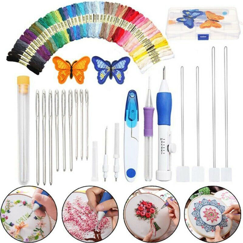 Beautiful DIY Embroidery Pen Knitting Sewing Tool Kit Punch Needle Set+50 Thread