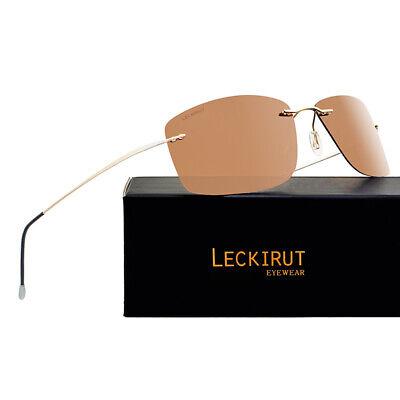LECKIRUT  Men's polarized  sunglasses for driving Titanium frame ultra (Titanium Sunglasses Men)
