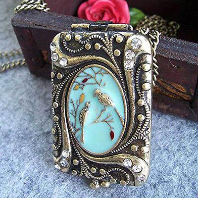 Vintage Retro Copper Flower Rhinestone Bird Locket Pendant Necklace Chain Ws