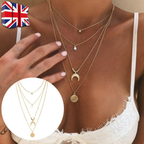 Jewellery - Women 4 Layered Necklace Gold Beaded Horn Choker Chain Pendant Jewelry Gifts UK