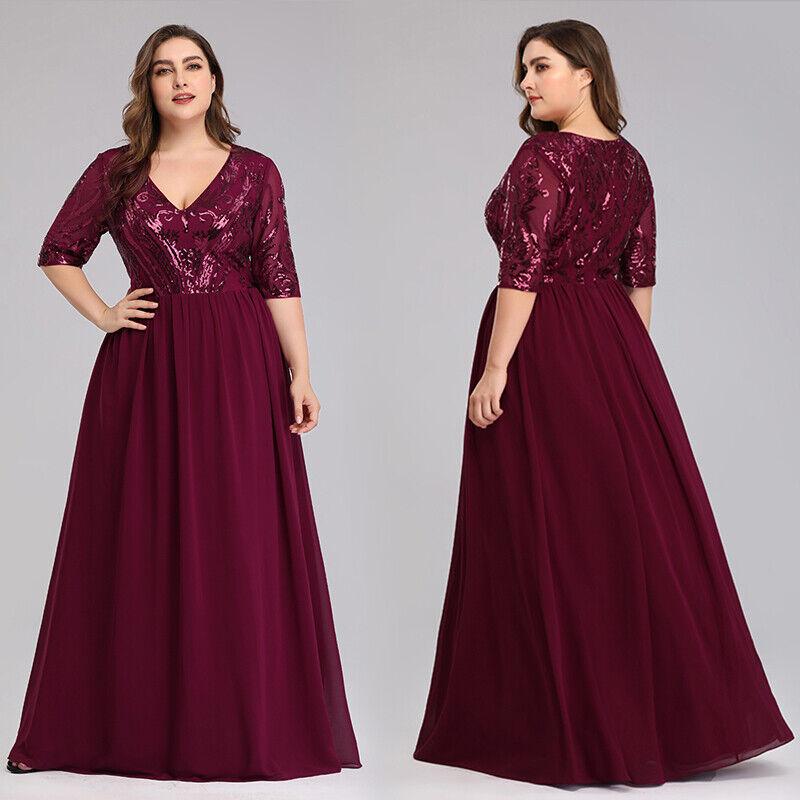 Ever-Pretty US Plus Size A-line Party Gowns V-neck Sequins Chiffon Evening Dress
