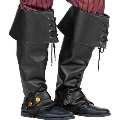 STIEFELSTULPEN Lederoptik schwarz Gamaschen Schuh Überzieher Pirat Kostüm #9815