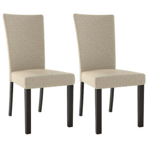 Bistro Transitional Fabric Dining Chair - Set of 2 - Woven Cream