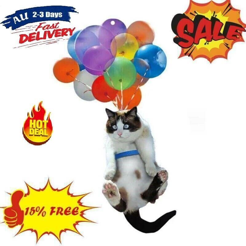Home Decoration - Cute Cat Car Home Hanging Ornament with Colorful Balloon Decor Ornaments.AU