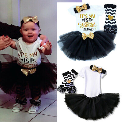 Baby Girl 1st Birthday Dress Tutu Princess Party Outfits Sets Clothes 4pcs Suits (Princess 1st Birthday Party)
