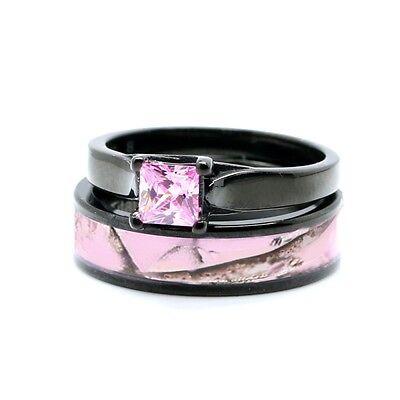 Camo Ring Set (Women's Pink Camo Engagement Wedding Ring Set Sterling Silver & Titanium Band)