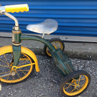 Vintage yellow and green-Leader Tri-cycle leather seat-