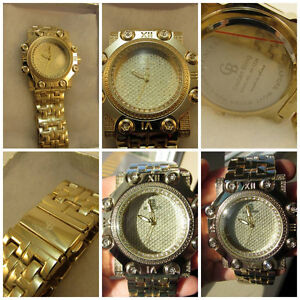 NEW Men's Iced Out Gold Tone Watch/Montre