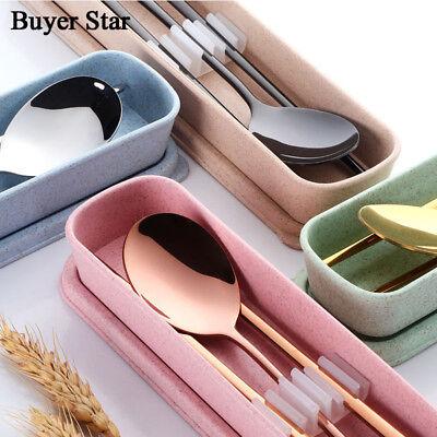 Korean Cutlery Flat Chopsticks Steel Stainless Travel Dessert Spoon Flatware Set