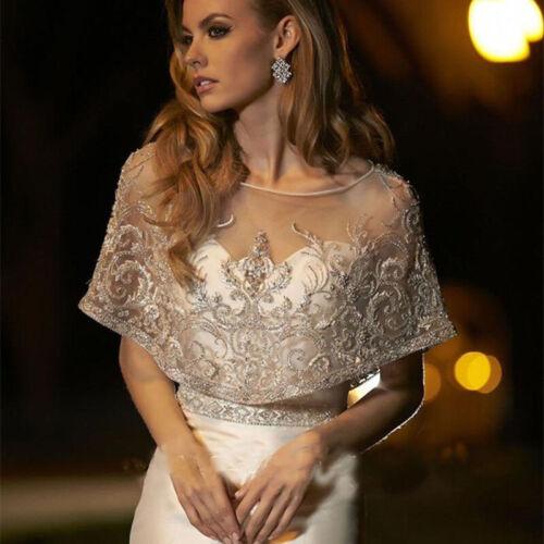Women Lace Bridal Bolero Jackets Scoop Neck Tulle Topper Beading Wedding Jacket
