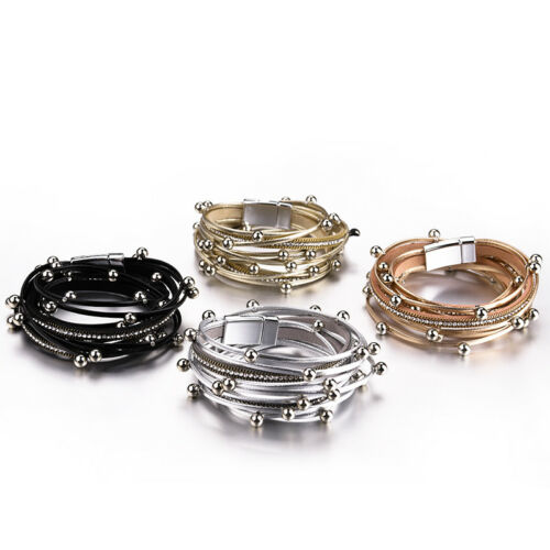 New Trendy Women Multiple Layers Leather Beads Rope Chain Charm Bracelet Jewelry