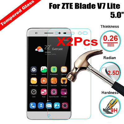 2Pcs 9H+ HD TEMPERED GLASS FULL SCREEN PROTECTOR Cover FOR ZTE Blade V7 Lite -