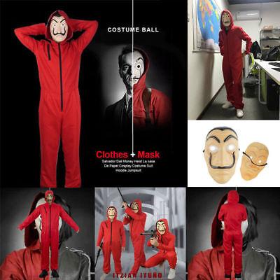 Kostüm Salvador Dali La Casa De Papel Haus des Geldes Overall + Mask 2019 (Halloween Kostüme La)