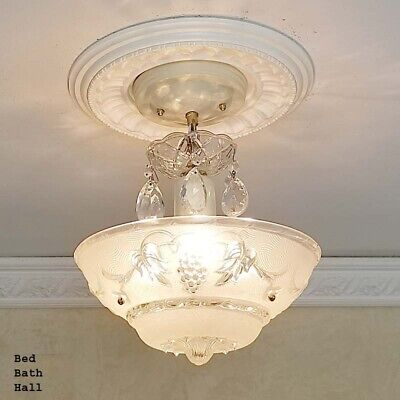 148b Vintage antique Ceiling Glass Light Chandelier Lamp Fixture Hall Bath  - Foyer Fixture Antique