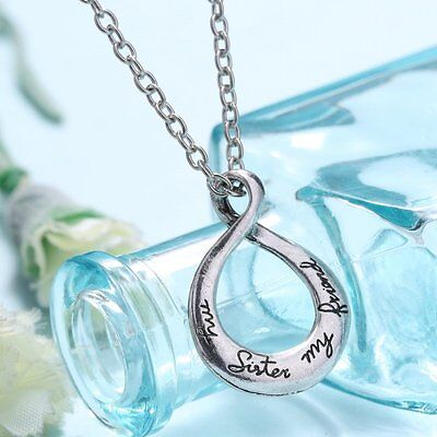 Fashion Letter  My Sister My Friend  Friendship Necklace Heart Pendant Chain Hot
