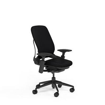New Steelcase Adjustable Leap Desk Chair - Black Leather Seat - Black Frame