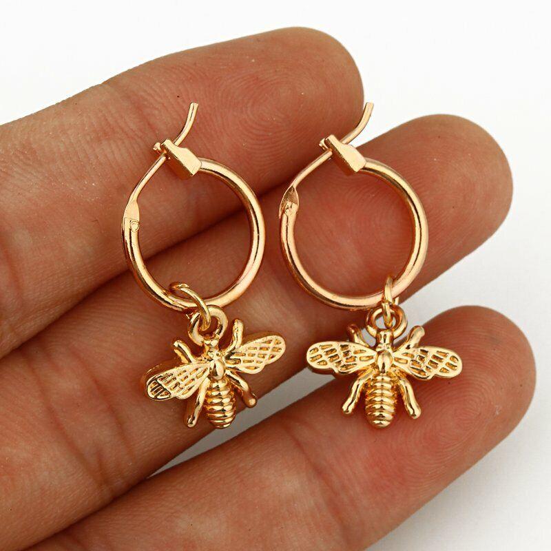 Chic Titanium Steel Moon Bee Animal Women Earrings Silver Go