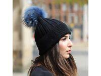 DAYMISFURRY--Black Wool Beanie Hat With Raccoon Fur Pom Pom