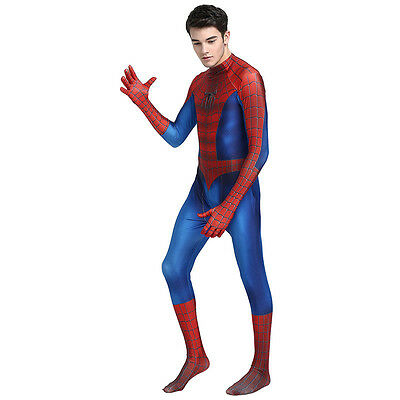 Amazing Spiderman Cosplay Costume with Mask Men Halloween Party Zentai Bodysuit](Halloween Costumes With Mask)
