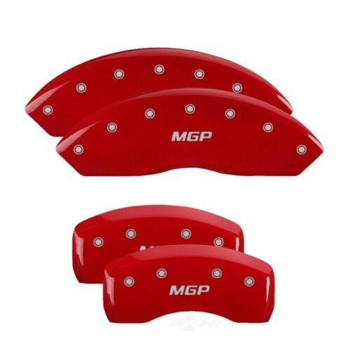 Set of 4 MGP Caliper Covers 22132SMGPRD MGP Engraved Caliper Cover with Red Powder Coat Finish and Silver Characters,