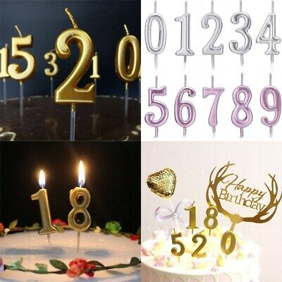 Number Candles (Creative Number 0-9 Happy Birthday Cake Candles Topper Decoration Party)