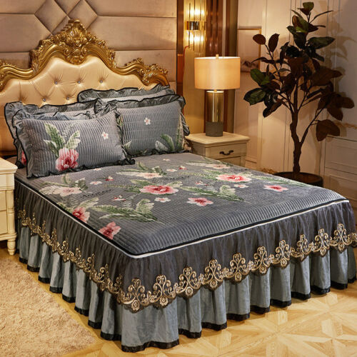 Thick Floral Velvet Zippered Bed Cover Skirt Queen Full Size