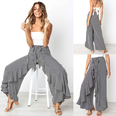 Womens Boho Floral Long Pants Palazzo Wide Leg Yoga Loose Baggy Harem Trousers - Floral Wide Leg Trouser