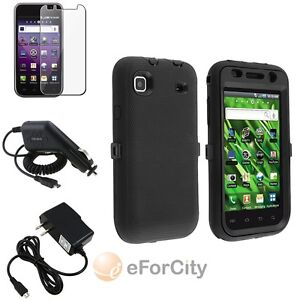 Black Silicone&Hard Case+Guard+Car+AC Charger For Samsung Galaxy S 4G SGH-T959v