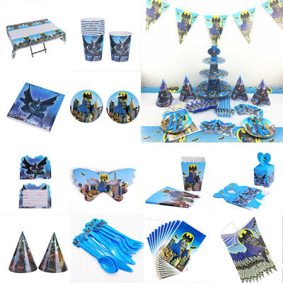 Batman Party Plates (Batman Kids Birthday Party Tableware Supplies Decorations Plates Tablecloth)