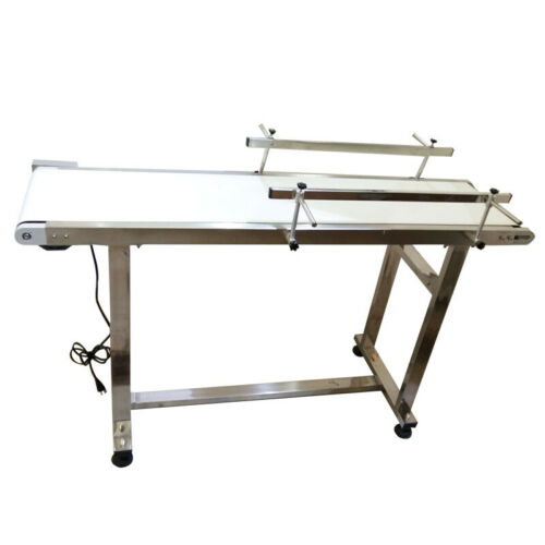 """110V 60W 1.35m/53"""" PVC Electric Conveyor With Double Guardrail Speed Adjustable"""