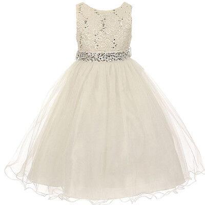 Ivory Glitters Flower Girl Dress Rhinestones Belt Double Layer Wire Tulle Skirt](Tulle Skirt Flower Girl Dress)