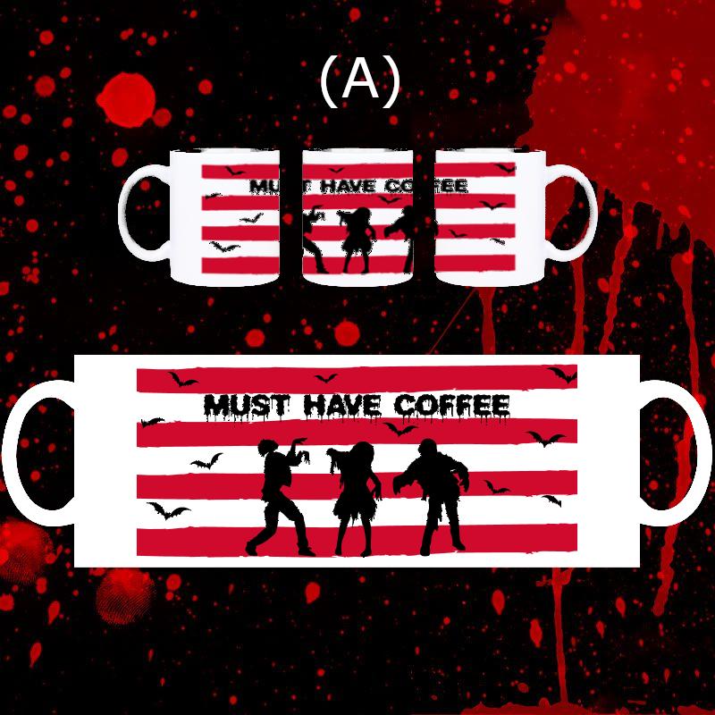 Zombie, Vampire, Halloween 11 oz Ceramic Coffee Mugs with Pe