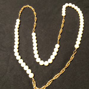 Long Chain Necklace with Pearls