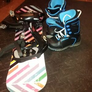 snow board, bindings and boots