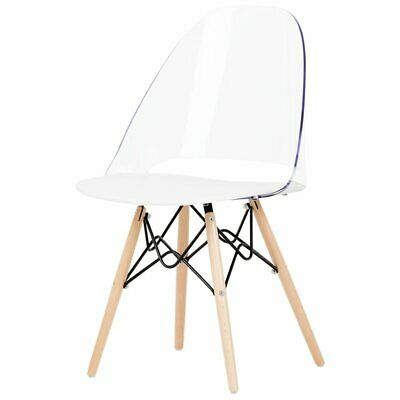 South Shore Annexe Eiffel Style Dining Side Chair in Clear and White
