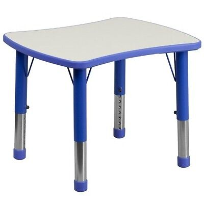 Height Adjustable Rectangular Blue Plastic Activity Table W/Grey Top - Gray Activity Tables