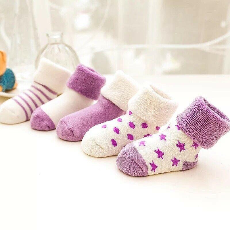 100% Cotton Warm Thick 5 Pairs Set Winter Baby Socks Newborn