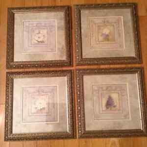 4 - 13x13 inch gold framed botanical prints