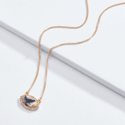 Gold Framed Oval Facted Stone Choker Short Necklace Layering Minimalist Jewelry ()