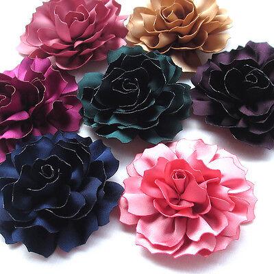 Upick 8/40pcs Large Ribbon Flowers Bows Craft Appliques Wedding 2 5/8