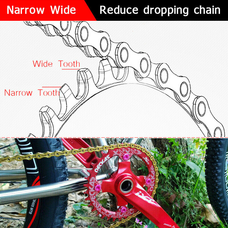 Details about  /MTB AM Road Bike Narrow Wide Oval Single Chainring Chain Ring 104mm 32 34 36 38T