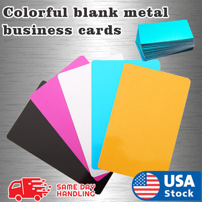 Colorful Blank Metal Business Cards Aluminum Sheet Laser Mark Material 100 Pcs