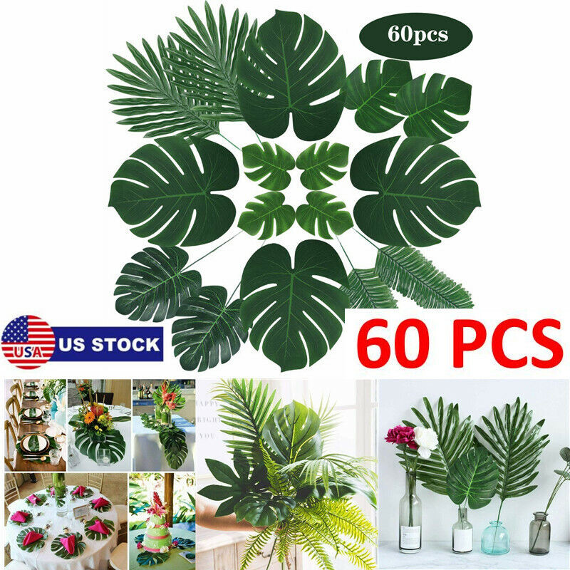 60Pcs Artificial Tropical Palm Leaves Plastic Fake Leaf Wedding Party Home Decor