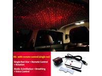 RED LED USB CAR ATMOSPHERE ARMREST BOX CEILING LAMP PROJECTOR LIGHT SOUND ACTIVE