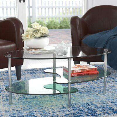 """Ryan Rove Fenton 38"""" Oval Two Tier Clear Glass Coffee Table Under Glass Storage"""