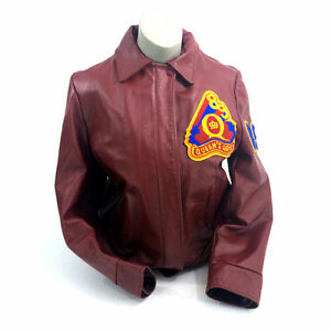 Queens University Leather Jacket Art Sci 89 Maroon Red Lined