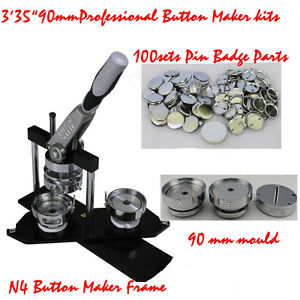 DIY Button maker kit!!90mm Badge Maker+100 Pin back Button